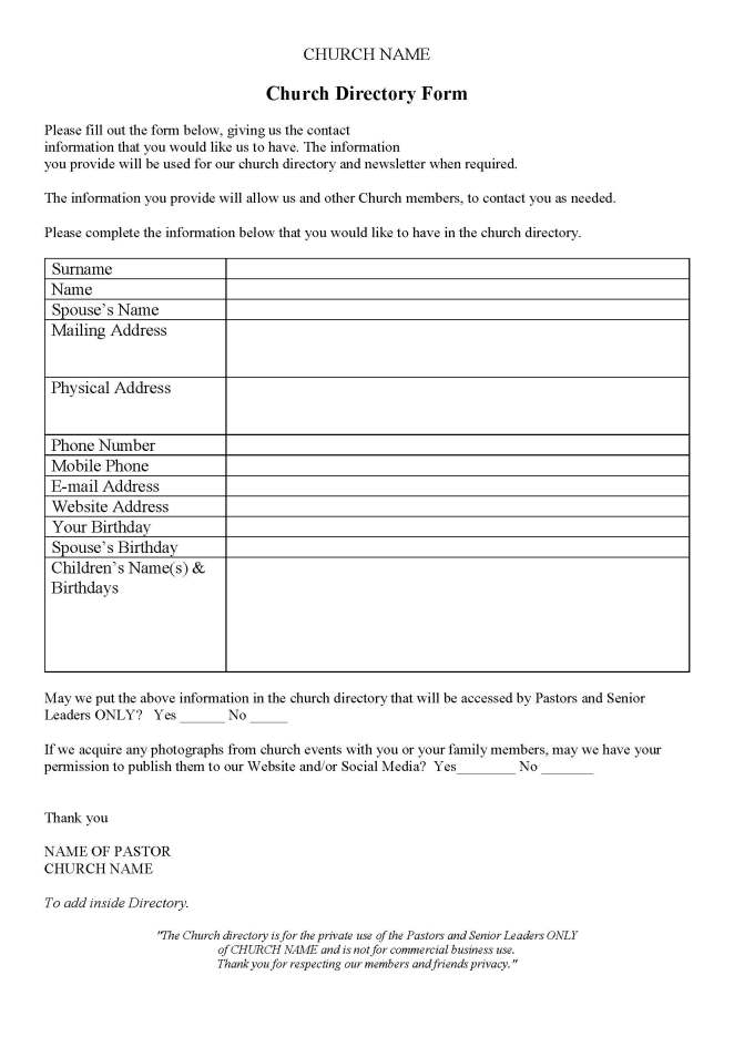 Church Directory – Church Support Australia on sample permission form for baptism, church patron sheet, sample informational sheet,